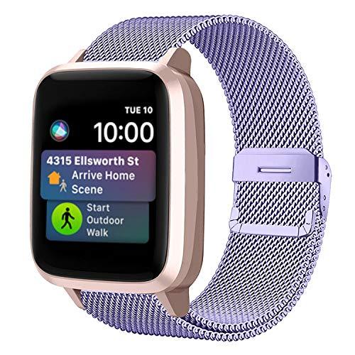 Funbiz Metallo Cinturino Compatible con Apple Watch 38mm 40mm 42mm 44mm, Bracciale di Ricambio Traspirante in Acciaio Inossidabile Compatibile con iWatch Series SE 6 5 4 3 2 1, 38mm/40mm-Lavanda