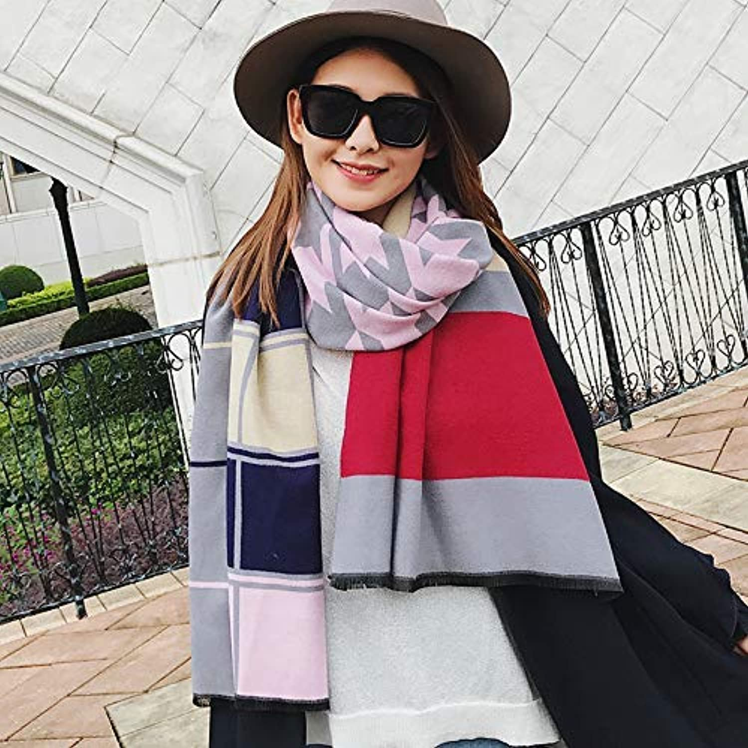 Scarf for Gift Autumn and Winter DoubleSided Thickening Scarf air Conditioning Warm Wild Plaid Big Shawl Dualuse Collar Female (Size   E) Classic Scarf (Size   E)