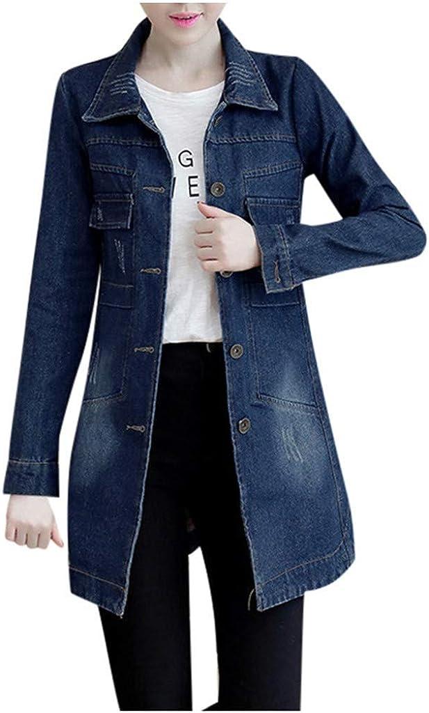 aihihe Denim Jacket for Women Plus Size Casual Lapel Slim Long Sleeve Denim Outwear Button Long Jacket Windbreaker