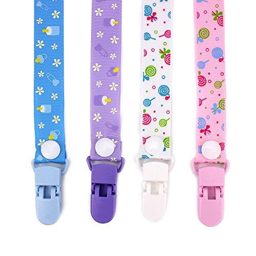 RUBY - Pack 4 Chupeteros de Colores Diferentes. Cadena Chupete Bebé con botón fijo adjustable (Dulces)
