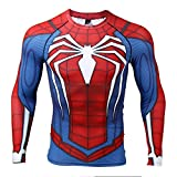 COOLMAX Raglan Sleeve Spiderman 3D Printed T Shirts Men Compression Shirts (X-Large, Blue)