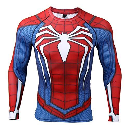 COOLMAX Raglan Sleeve Spiderman 3D Printed T Shirts Men Compression Shirts (Small, Blue)