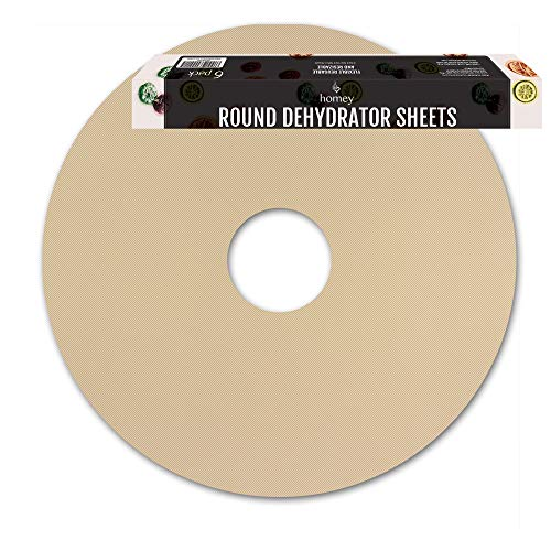 Round Food Dehydrator Sheets by Simply Homey, 12.5 x 12.5-Inches, 6-Pack Flexible Reusable Non Stick Teflon Sheets