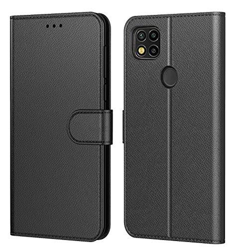Tenphone Etui Coque pour Xiaomi Redmi 9C NFC,Plusieurs Couleurs Disponibles, Pochette Protection Etui Housse Premium en Cuir PU,Fermeture Magnétique pour (Redmi 9C (6,53 Pouces), Book Noir)