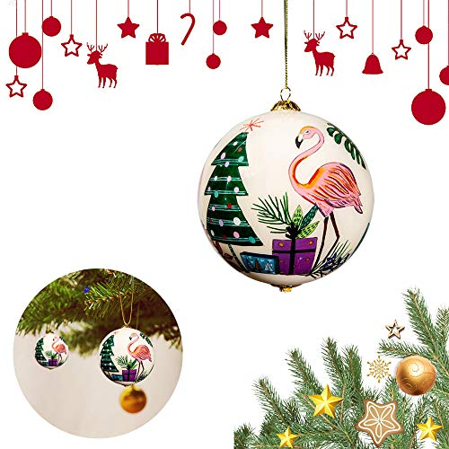 ZEAT Christmas Glass Ball for Tree, Christmas Ornaments Balls by Hand Painted, Xmas Ornament Decoration, Gift for Friends Family, Perfect for Christmas Holiday Party (1 Pack, Flamingo)