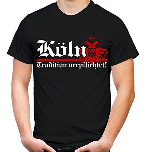 Köln Tradition Männer und Herren T-Shirt | Fussball Ultras Cologne Geschenk | Front (L, Schwarz)