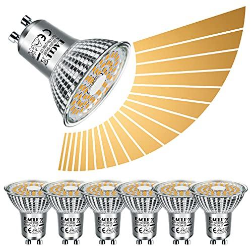 EACLL GU10 LED 6W 2700K Warmweiss Dimmbar Leuchtmittel 475 Lumen Birnen Stufenlos Kontinuierlich Dimmen PAR16 Reflektor Lampen, AC 230V Kein Strobe Strahler, 120 ° Warmweiß Licht Spotlight, 6 Pack