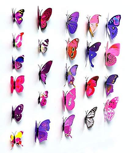 3D Papillon 12 PIÈCES Autocollants Faisant autocollants Autocollant Mural Loisirs créatifs Papillons - Pourpre, 1 - Pack: 12 PCS