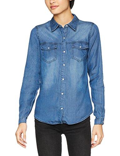 Vila Clothes Vibista Shirt-Noos Blusa, Azul (Dark Blue Denim Wash: Clean), 34 (Talla del Fabricante: X-Small) para Mujer