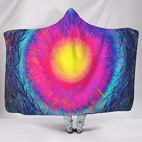 Wandlovers psicodlico, diseo de arcoris, impresin artstica, supersuave, con capucha, ligera, manta envolvente con capucha, color blanco, 130 x 150 cm