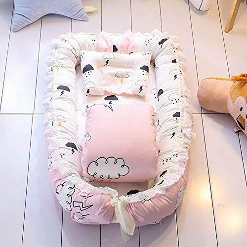 Babynest Babynestchen Baby Nest Nestchen - Kokon für Babybett SET Liegekissen Baumwolle Kuschelnest Rosa