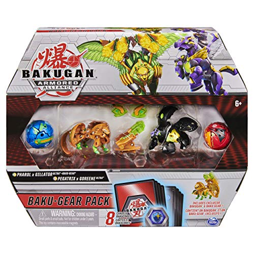Bakugan Baku-Gear Pack, Pharol x Gillator with Ultra Baku-Gear and Pegatrix x Goreene Ultra Collectable Action Figures