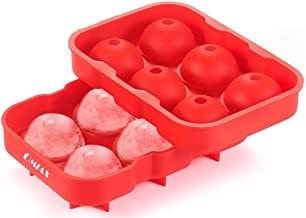 OMIAX Ice Cube Ball Maker tray, 6 x 4.5cm Ice Ball Mold with Leak proof, Flexible Silicone. Food Grade, BPA Free. Ice Sphere round Perfect for Whiskey, Scotch, Bourbon, Cocktails, Fruit Punch, Infused Fruit - Ice Cube (Red)