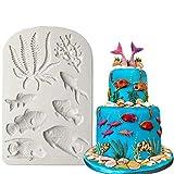 FGHHT Molde de Silicona de Algas de Pescado,Herramientas de decoración dePasteles con Borde de Pastel DIY,Molde deChocolate de confitería de Coral Marino paraCupcakes