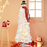 Juegoal 4FT Pre-lit Artificial Christmas Tree with Snowman Tree Topper, White Salem Pencil Pine Tree with 100 Warm White LED Lights, Xmas Holiday Winter Home Party Decorations