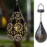 Solarlaterne für Außen, Garten Deko Hängend Solarleuchte , Metall Marokkanische Lampe Patio Balkon LED Wasserdicht Wegbeleuchtung für Außen Gehwege [Energieklasse A+]