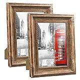 UMI. Essentials - Marcos de Fotos Rústicos de Madera para Sobremesa o Pared, 13 x 18 cm Juego de 2