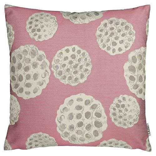 Lazis | Lotus rosa Deko Kissen 45x45 cm Kissenhülle Kissenbezug | rosa Weiß Grau | florales Design | ohne Füllung | waschbar