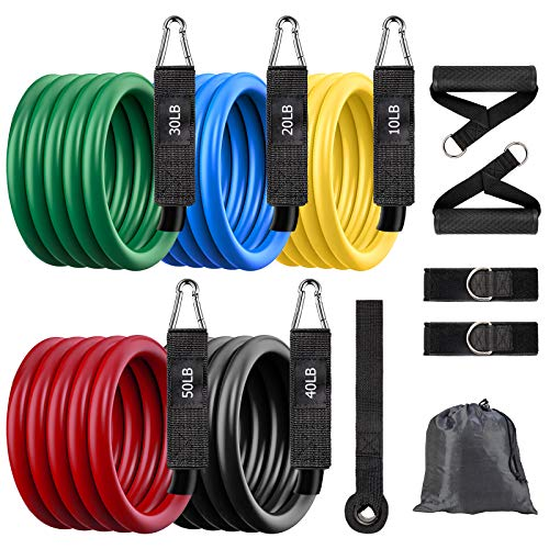 Resistance Bands Set, Home Exercise Bands, Weights for Exercises, 150 lbs Workout Bands with Accessories