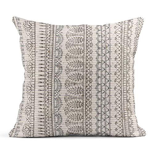 Kinhevao Cojín Borde Crochet Vintage Crochet Boundless Bordes de Encaje de Punto en Old Blot Rayado Cojín de Lino Almohada Decorativa para el hogar