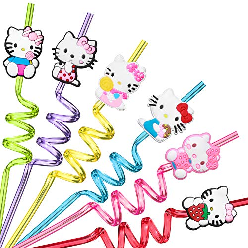 Reusable Hello Kitty Straws Party Favors for Girl Hello Kitty Theme Birthday Party Supplies with 2 Cleaning Brush(24+2)