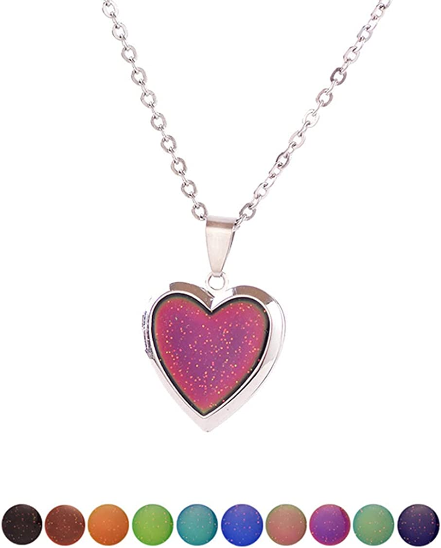 Temperature Sensing Color Changing Pendant Necklace Love Heart Butterfly Turtle Dolphin Moon Star Mood Necklace for Girls Women Kids Gift