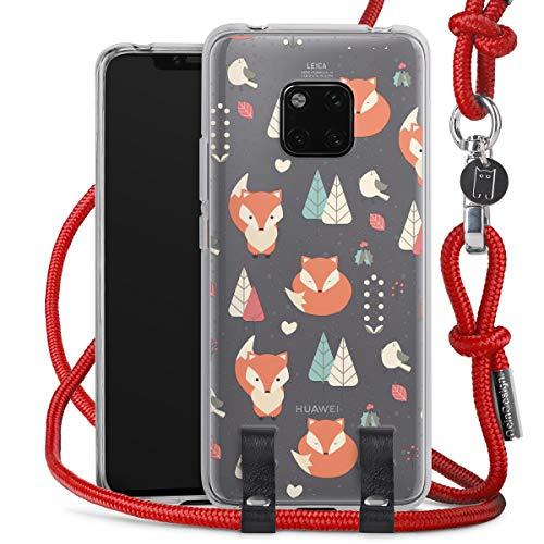 DeinDesign Carry Hülle kompatibel mit Huawei Mate 20 Pro Hülle mit Kordel aus Stoff Handykette zum Umhängen rot Pattern Baum Fuchs