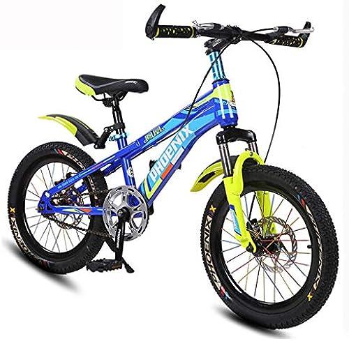 Kinder Fahrrad 7-10 Jahre Old Boy Mountain Bike 18 Zoll Doppelscheibenbremse High Carbon Steel Fahrrad 4 Corlors (Farbe   Royal Blau)