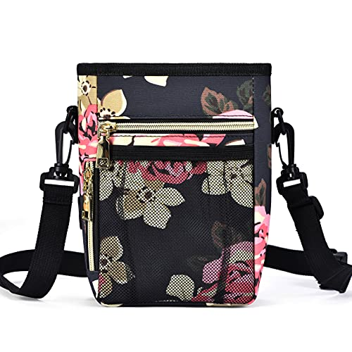 SUPPETS Dog Treat Pouch Dog Treats Bag with Waist Belt, Metal Clip, Poop Bag Dispenser for Doggy Puppy Pet Training, Peony