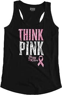 Pink Ribbon Think Breast Cancer Awareness Racerback Tank Top
