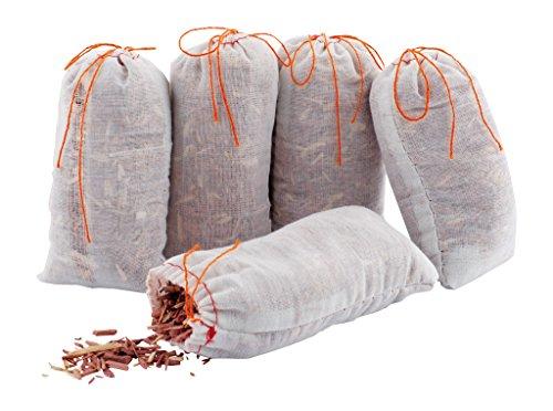 Redecker 445005 Rot-Ceder-Säckchen, 5er Pack - Natürlicher Mottenschutz ohne Chemie