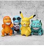 Pokemon 4 Unids / Set 10 Cm Miserable Pikachu Figuras Muñecas, Dibujos Animados Pokémon Squirtle Charmander Psyduck Purin Anime Modelo Juguetes Regalo para Niños