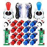 Avisiri 2 Player Arcade Joystick DIY Parts 2x USB Encoder + 2x Elliptical Joystick Hanlde + 18x American Style Arcade Buttons for PC, MAME, Raspberry Pi, Windows (Red & Blue)