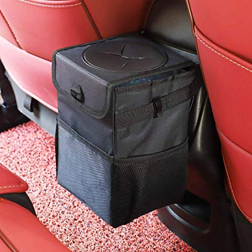 HUAZHAN Car Trash Can with Lid,Foldable Car Trash Bag,with Removable Leakproof Interior Liners Storage Pockets,Portable Car Accessories Organizer for Women,Black