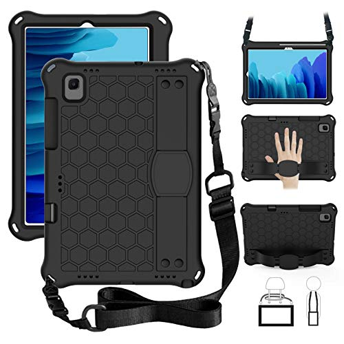 TabPow Kids Case For Samsung Galaxy Tab A7 Case (SM-T500/T505)(10.4 Inch 2020 Release), Kidsproof Tablet Cover with Shoulder Strap and Stand, Hand Grip - Black (Black)