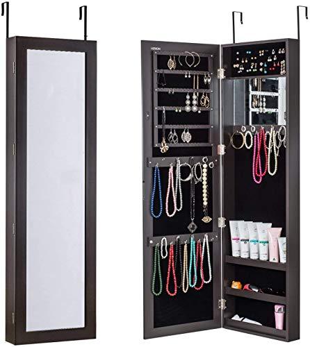 Clóset para Joyería con Puerta de Espejo o Montado en la Pared, Joyero Organizador para Mujer, Marrón