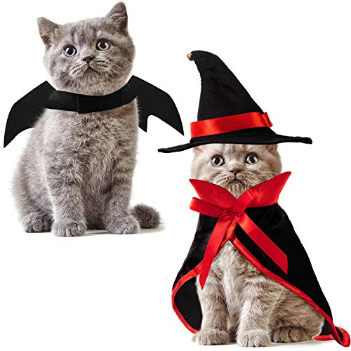 Frienda 3 Pieces Pet Halloween Vampire Costume Pet Bat Wings Vampire Cloak Wizard Hat for Halloween Party, Pet Cosplay