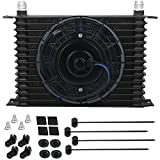 American Volt 15 Row Aluminum Engine Transmission Oil Cooler 10An Hose 8 Inch Electric Fan Kit