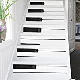 ZUMECA Self-Adhesive Stair Sticker, Piano Keys Waterproof Tile Staircase Wallpaper, PVC DIY Decoration 12PCS/Set Removable Fashion Home Decor Stairway Stickers 39''L x7''W (Piano)