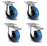DELEX-Rollen - Juego de ruedas dirigibles, 125 mm, carga máxima de 200 kg por rueda, 4 unidades, color azul