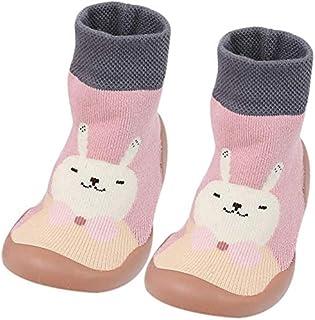 BOLANA Antideslizante Suelo Calcetines para Bebé Niña Niño Bebé Recién Nacido Paso Calcetines Invierno Zapatos Mocasín Botas con Suela Goma - Rosa, 26-27