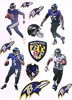 "Baltimore Ravens Mini FATHEAD Graphics Team Set 4 Players Lamar J. + Ravens Logo Set Official NFL Vinyl Wall Graphics - Each Player 7"" INCH"