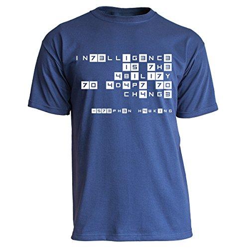 Nukular T-Shirt Intelligence Leetspeak - Stephen Hawking, Farbe Navy, Größe L