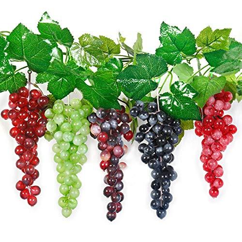 EESLL 5 racimos de uvas artificiales, simulación decorativa de goma realista falso racimos, paquetes de uvas, uvas artificiales de alta simulación,