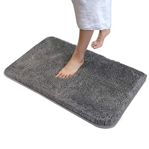 "Soft Plush Bathroom Rug,Water Absorbent Shaggy Bath Mat 32"" x20"",Non-Slip Bath Rug Carpet with Fluffy Microfiber,Machine Washable Rectangular Runner Area Rugs for Shower,Floor&Kitchen,Lava Grey"