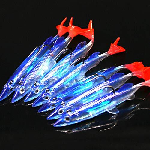 Balight 5 pz/Lotto Esca Morbida Wobblers Esca Artificiale in Silicone Esche da Pesca Set Esche Jigging Esche da Pesca 8 cm / 6 g Piombo Jig Cucchiaio Pesce T-Coda Attrezzatura