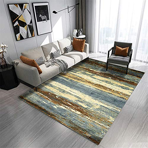 AU-SHTANG alfombras Dormitorio Modernas Alfombra Gris, Azul de diseño Retro, Alfombra Simple...