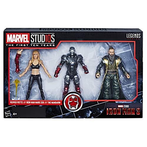 Marvel Studios: The First Ten Years – Edition Collector Iron Man 3 – Figurines Iron Man Mark XXII, Pepper Potts et Le Mandarin - 15 cm