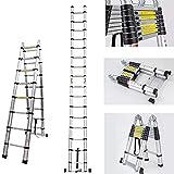 5M Multi-Purpose Aluminum Ladder Telescopic Folding A- Frame Ladder Extendable 16 Steps - UK