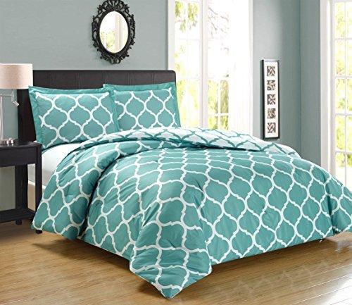 Grand Linen 3 piece Luxury LIGHT BLUE/WHITE Reversible Quatrefoil Goose Down Alternative Comforter set, Full/Queen Duvet Insert